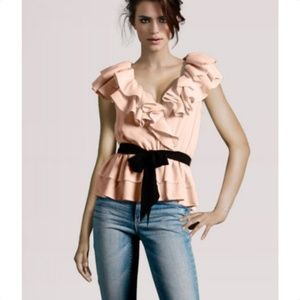 H&M Blush/Peach/Light Pink Ruffle Peplum Top NWOT